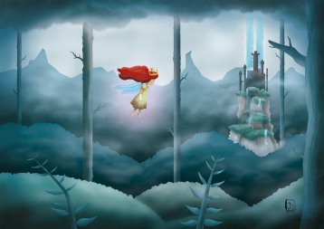 CHILD OF LIGHT video game fan-art. Illustrator + Photoshop.