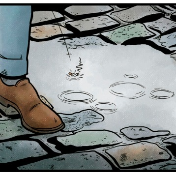 Panel of a short detective comic for a Spanish publisher. Digital watercolours.