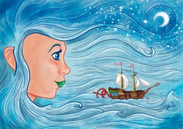 Lady Sea. Digital watercolour.
