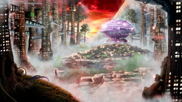Concept Art of a techno-organic futuristic world.