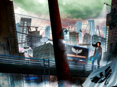 Concept art for the cover and back cover of my sci-fi novel ROOFTOPIA.