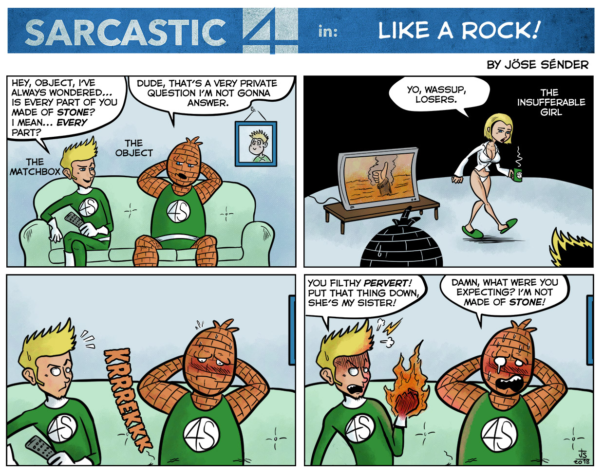 sarcastic four, fantastic four, parody, humor, comic, webcomic, marvel, superheroes, parodia,