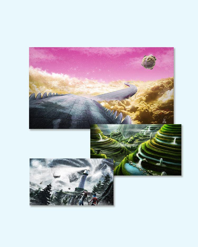 concept art, matte painting, fotorealismo, ilustracion, fotomontaje,