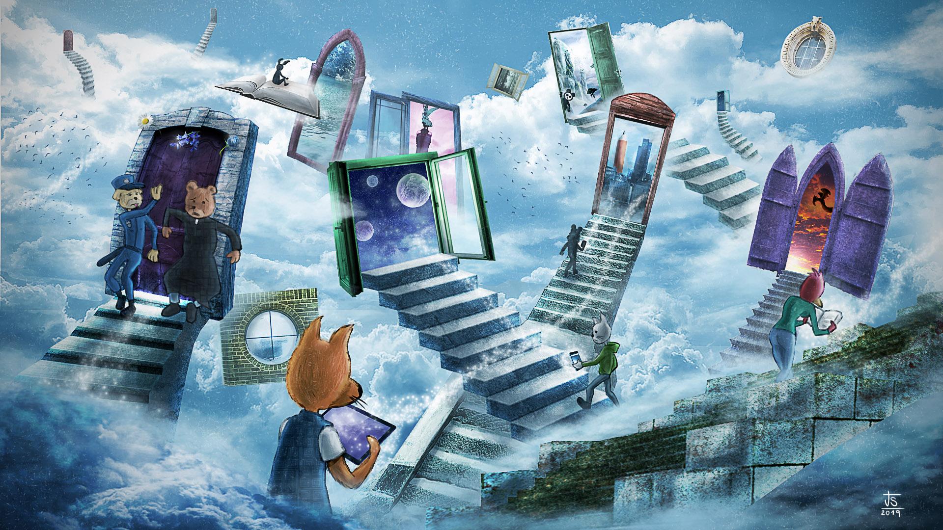 wikimedia, wikipedia, foundation, illustration, art, digital, concept art, jose sender,